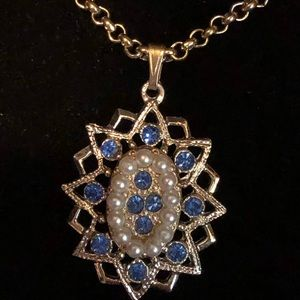 Vintage Star Pendant w/ Faux Pears and Blue RS